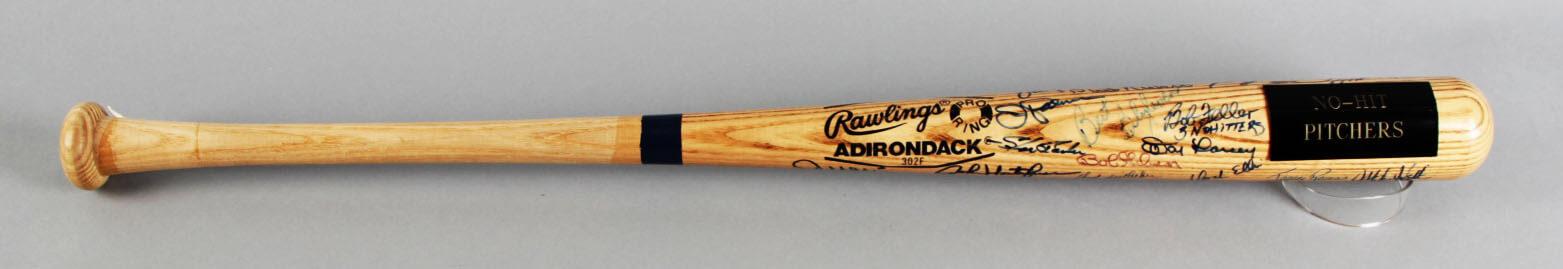 NO-Hit Pitchers Multi-Signed Baseball Bat - Sandy Koufax, Catfish Hunter etc. - JSA