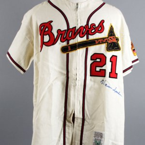 Warren Spahn Signed Braves M&N Jersey - JSA