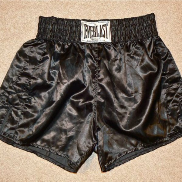 """1996 Mike Tyson vs. Evander Holyfield Part I - Mike Tyson Training-Worn Trunks (Tagging w/ """"MADE EXPRESSLY FOR MIKE TYSON"""")"""