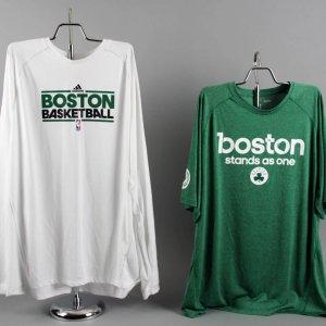 Paul Pierce Game-Worn Boston Celtics Shooting Shirts (2) Incl. Playoffs Boston Marathon Tribute