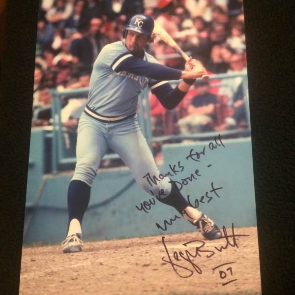 Kansas City Royals George Brett Signed  11x17 with inscription