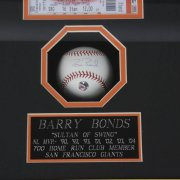 Barry Bonds Signed Baseball Ticket & Photo Display 700th HR. Fri Sep 17 2004 ( Players Hologram)