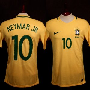 A Neymar Jr. Game-Used #10 Brazil Home Shirt.  2018 FIFA World Cup Qualifiers (CONMEBOL).