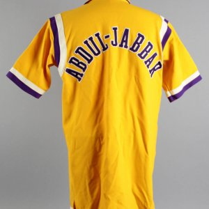 1984-85 Kareem Abdul-Jabbar Game-Worn Lakers Warm-Up Jacket - COA 100% Team