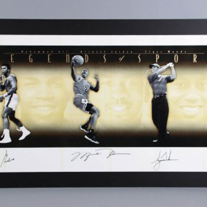 "Muhammad Ali, Michael Jordan & Tiger Woods Signed ""Legends of Sport"" Gold Litho AP 4/10 - COA UDA"