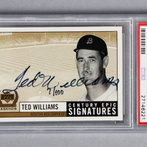 1999 UD Century Legends Ted Williams Century Epic Signatures Card #TW PSA Graded MINT 9 Signed