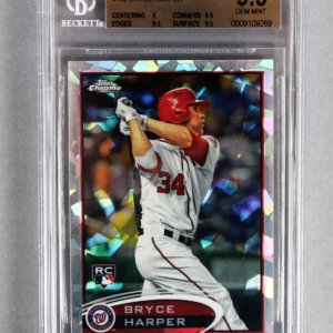 2012 Topps Chrome Bryce Harper Atomic Refractor Rookie Baseball Card (3/10 -  #196 - Graded BGS 9.5) Nationals