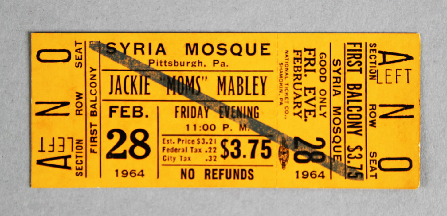 1964 Moms Mabley Tour Unused Full Ticket Syria Mosque Pittsburgh, Pa