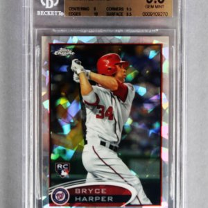 2012 Topps Chrome Bryce Harper Atomic Refractor Rookie Baseball Card (8/10 - #196 - Graded BGS 9.5) Nationals