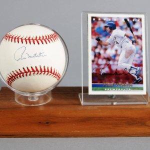 Paul Molitor Signed Milwaukee Brewers Baseball & Trading Card Display - COA 100% Team