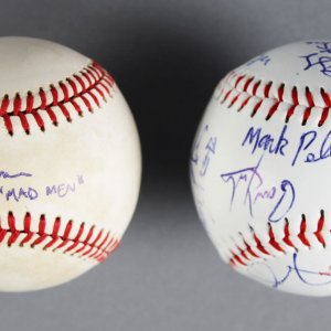 """Mad Men"" Jon Hamm Signed Baseball Paired W/ Second Baseball Signed By Director Of Nostalgia & Crew"