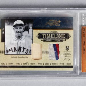 2004 Ted Williams & Mel Ott Playoff Prime Cuts Game-Used Bat & Jersey Card 5/9 - Beckett Slab