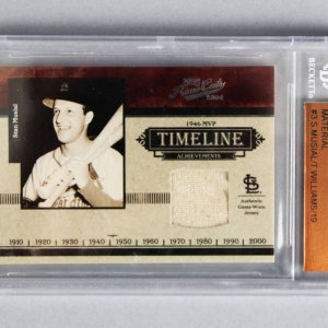 2004 Ted Williams & Stan Musial Playoff Prime Cuts Game-Worn Jersey Card 11/19 - Beckett Slab