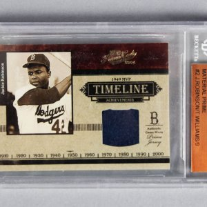 2004 Ted Williams & Jackie Robinson Playoff Prime Cuts Game-Worn Jersey Card 3/9 - Beckett Slab