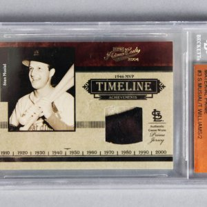 2004 Ted Williams & Stan Musial Playoff Prime Cuts Game-Worn Jersey Card 2/2 - Beckett Slab