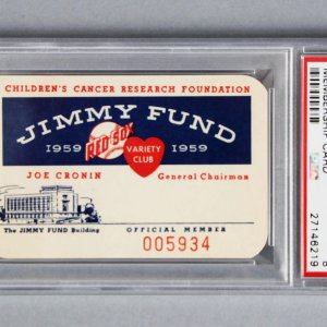 1959 Ted Williams Jimmy Fund Membership Card - PSA Graded
