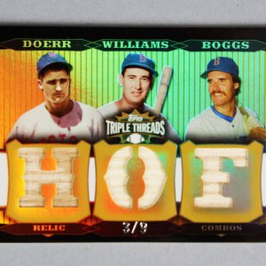 2006 Topps Triple Threads Relic Combos Baseball Card - Bobby Doerr, Ted Williams & Wade Boggs 3/9