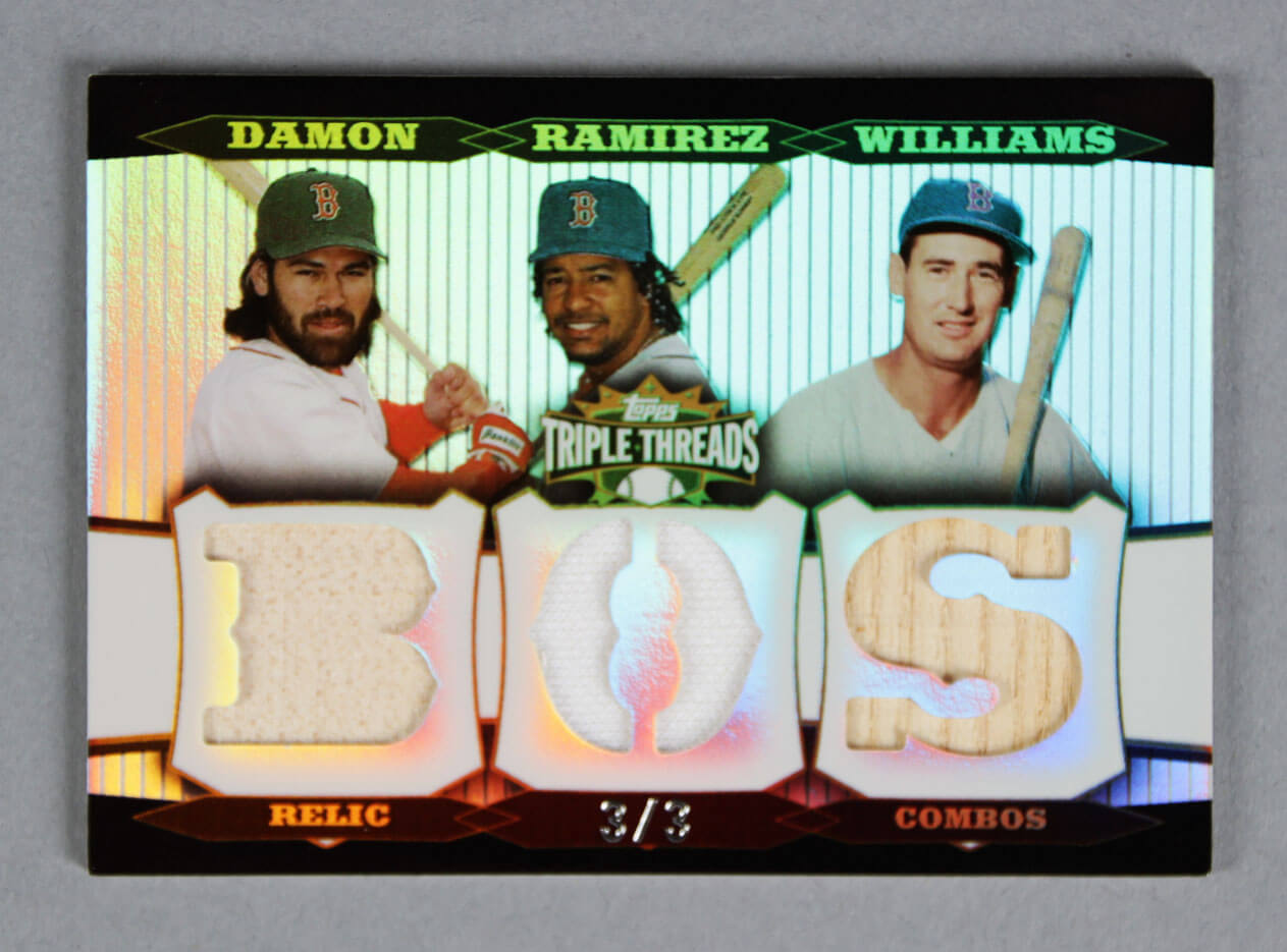 2006 Topps Triple Threads Relic Combos Baseball Card - Johnny Damon, Ted Williams & Manny Ramirez 3/3
