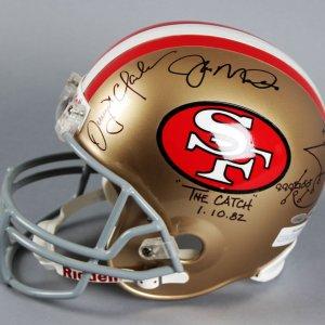 Joe Montana, Jerry Rice & Dwight Clark Signed 49er's Full Size Helmet - COA TriStar