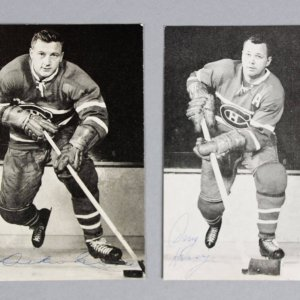 Montreal Canadiens Signed Promo Photos Lot (2) HOFers Doug Harvey & Dickie Moore - JSA