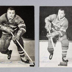 Doug Harvey & Dickie Moore Signed Photos Canadiens - COA JSA