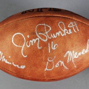 Jim Plunkett, Don Meredith & Ed Hochuli Multi-Signed Football - JSA