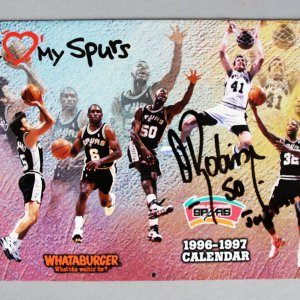 David Robinson Signed San Antonio Spurs Calendar