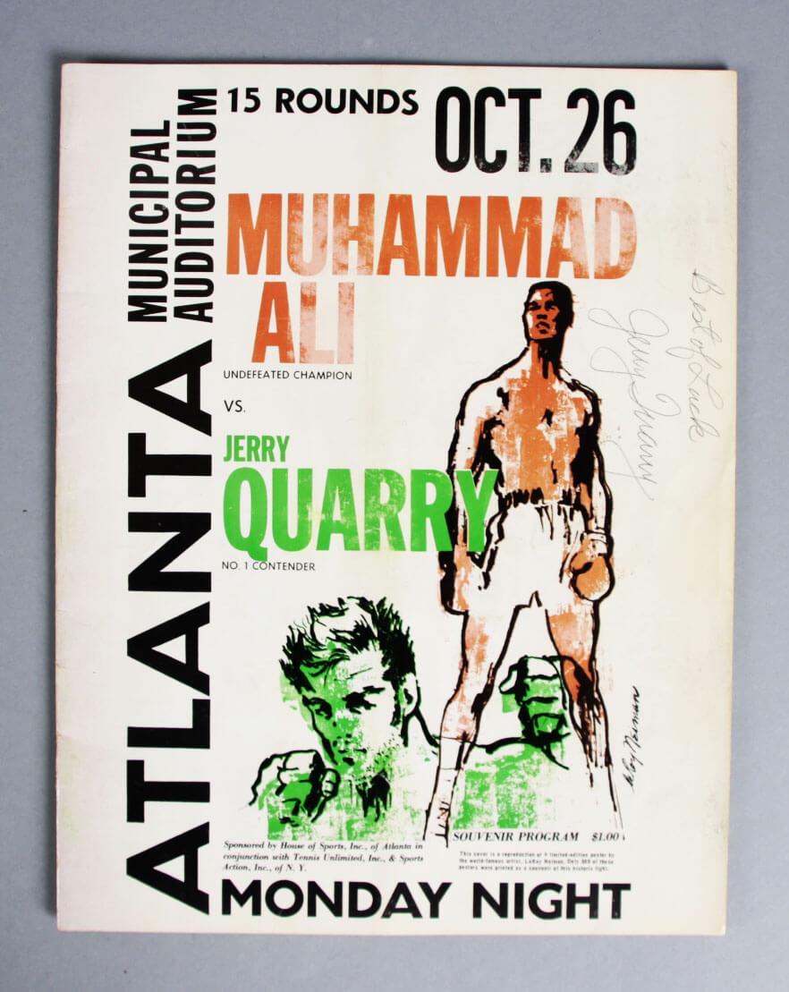 1970 Ali vs Quarry Rare Fight Program Signed by Quarry - JSA