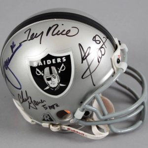 Raiders Mini Helmet Signed By Jerry Rice, Rich Gannon, Tim Brown & Charlie Garner - JSA