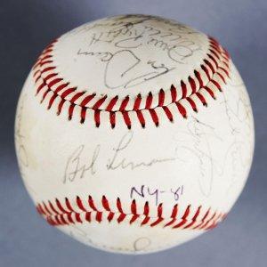 1981 NY Yankees Team Signed OAL MacPhail Base Ball,  Bob Lemon, Dave Righetti (ROY)