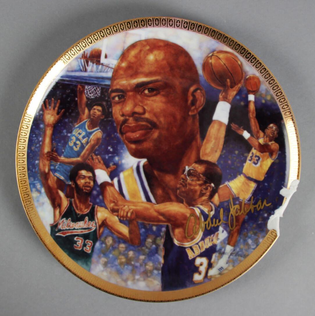 Kareem Abdul-Jabbar Signed Plate LA Lakers- COA