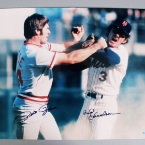 Pete Rose & Bud Harrelson Signed 16x20 Fight Photo