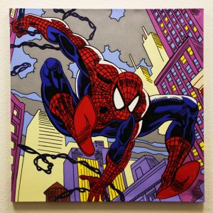 Spider-Man 32x32 Hand Painted Canvas Art Signed by Stan Lee & Steve Kaufman LE 3/10