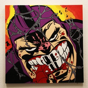 Rhino 32x32 Hand Painted Canvas Art Signed by Stan Lee & Steve Kaufman LE 3/10
