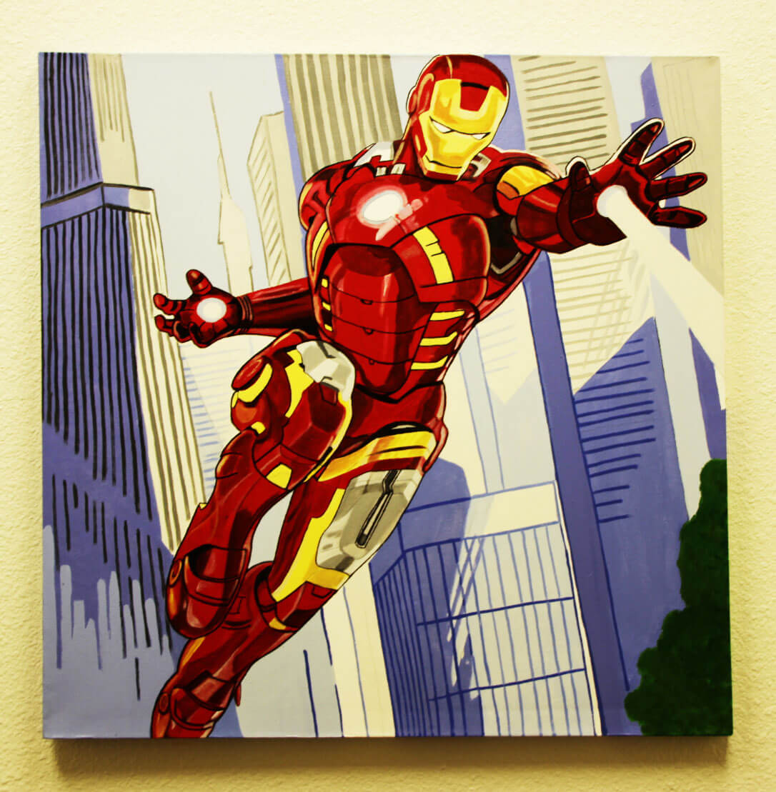 Iron Man 32x32 Hand Painted Canvas Art Signed by Stan Lee & Steve Kaufman LE 3/10