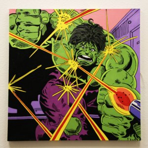 The Incredible Hulk 32x32 Hand Painted Canvas Art Signed by Stan Lee & Steve Kaufman LE 3/10