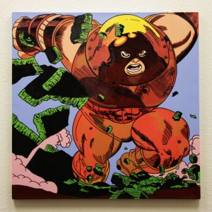 Juggernaut 32x32 Hand Painted Canvas Art Signed by Stan Lee & Steve Kaufman LE 3/10