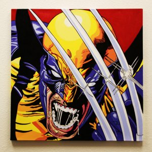 Wolverine 32x32 Hand Painted Canvas Art Signed by Stan Lee & Steve Kaufman LE 3/10