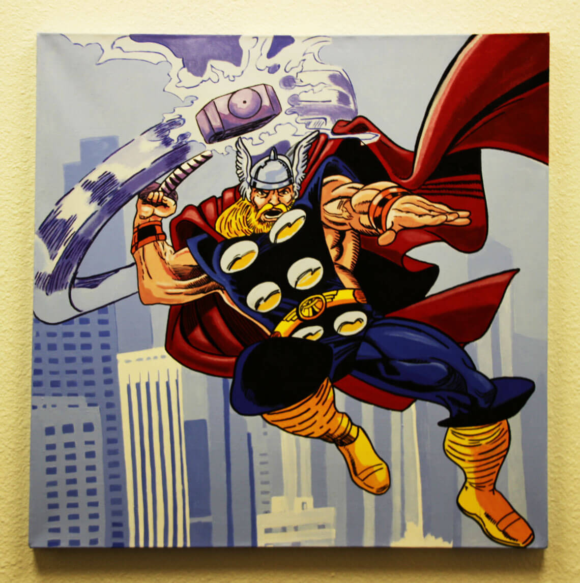 Thor 32x32 Hand Painted Canvas Art Signed by Stan Lee & Steve Kaufman LE 3/10