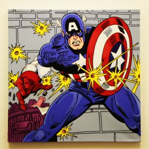 Captain America 32x32 Hand Painted Canvas Art Signed by Stan Lee & Steve Kaufman LE 3/10