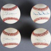 N.Y. Center Fielders Signed Baseball Lot (4) - Mickey Mantle, Joe DiMaggio, Duke Snider & Willie Mays - JSA