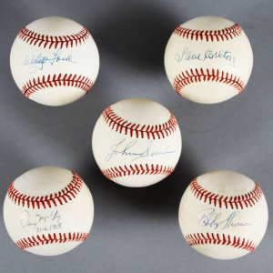 MLB Pitchers Signed Baseball Lot (5) - Whitey Ford, Steve Carlton etc. - JSA