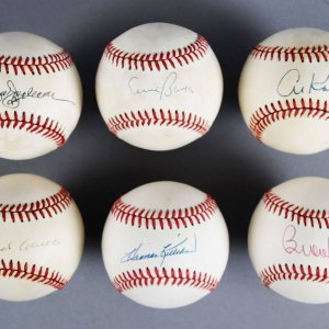 MLB HOF Signed Baseball Lot (6) - Reggie Jackson, Hank Aaron, Ernie Banks etc. - JSA