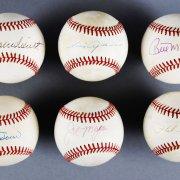 MLB HOF Signed Baseball Lot (6) - Phil Rizzuto, Luis Aparicio, Bill Mazeroski etc. - JSA