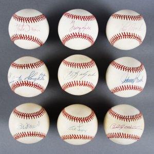 MLB HOF Signed Baseball Lot (9) - Stan Musial, Billy Williams, Carl Yastrzemski etc. - JSA