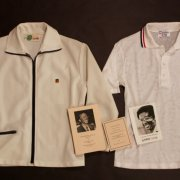 (LOT) An Arthur Ashe Game-Used Shirt & Jacket.  Includes Signed Photograph & Ashe's Funeral Programmes.