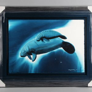 "Robert Wyland Watercolor Painting Art Original ""Endangered Manatees"" 31.75 x 41.25 Display"