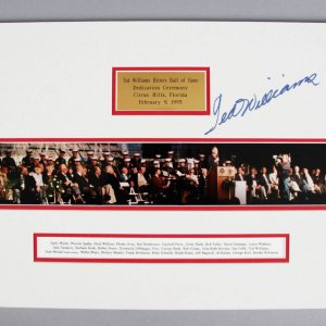 Ted Williams Signed Hitters Hall of Fame Dedication Matted Photo - JSA