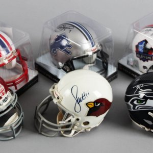 Football Signed Mini Helmet Lot (6) Incl. Larry Fitzgerald, Matthew Stafford, Russell Wilson etc.