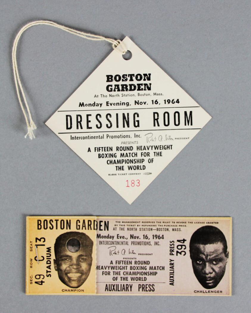 11/16/1964 Cassius Clay VS. Sonny Liston II (BOSTON GARDEN) Full Ticket & Official's Pass